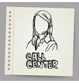 Doodle girl call center operator vector image