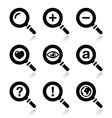 Magnifying glass search icons set vector image
