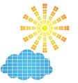 Sun icon and design element vector image