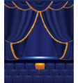 empty cinema with blue curtain vector image vector image