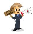 businessman shout out with megaphone announcement vector image