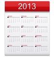 Red Calendar 2013 vector image