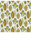 seamless pattern with ethnic leaves ornament vector image
