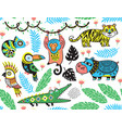 seamless pattern with tropical animals vector image