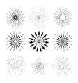 Set of stylish hand drawn retro sunburst vector image