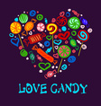 Set of bright candies in the form heart for your vector image