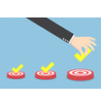 Businessman hand put the check mark on targets vector image