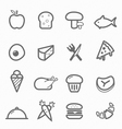 food symbol line icon set vector image