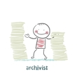 archivist is standing near the pile of papers vector image vector image