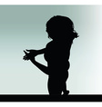 woman silhouette with hand gesture explain vector image