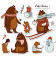 cute bears set vector image