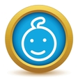 Gold baby icon vector image