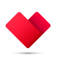 heart ribbon sign 3d logo red icon art vector image