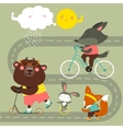Kids transport collection with cute animals vector image