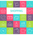 Line Art Modern Shopping and Retail Icons Set vector image