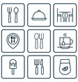 set of 9 restaurant icons includes eating house vector image