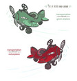set of hand-drawn red and green airplane ink vector image
