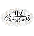 Merry Christmas handwritten lettering design with vector image