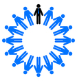 employees and manager in circle vector image vector image