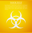 biohazard symbol flat icon on yellow background vector image