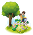 A father and his daughter near the wooden fence vector image vector image