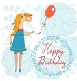 Adorable Happy birthday card with beautiful horse vector image