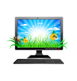 green computer vector image vector image