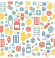Medical pills and capsules seamless pattern vector image