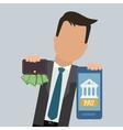businessman smartphone wallet money pay digital vector image