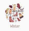 doodle set of on the theme of winter for your crea vector image