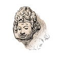 Drawing head of Bodhisattva vector image