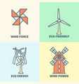 windmill linear logo set eco friendly wind force vector image vector image