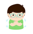 little boy with a cold shivering cartoon vector image