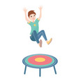 happy boy jumping on a trampoline colorful vector image