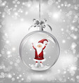Silver of empty snowglobe with Santa Claus vector image