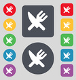 Eat Cutlery icon sign A set of 12 colored buttons vector image