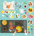 Chef Workplace Top View vector image