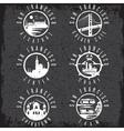 Grunge label set with landmarks of San Francisco vector image