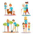 Volunteer People Help Flat Cartoon Collection vector image