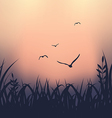 Landscape with grass and flying seagulls vector