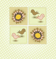 Spring Greeting with Birds and Flowers vector image
