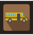School yellow bus icon flat style vector image
