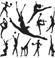rhythmic gymnastics with ball and cones vector image
