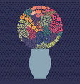 bouquet with cheerful stylized flowers vector image