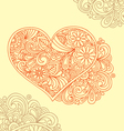 floral decorative heart doodle vector image
