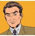 man looks up closing one eye pop art comics retro vector image