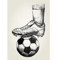 Soccer player foot on soccer ball vector image