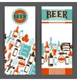 Banners design with beer icons and objects vector image
