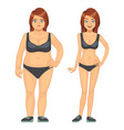 unhappy fat and happy slim woman before and after vector image vector image