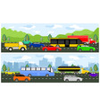 highway with traffic traveling vector image